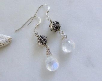 Rainbow Moonstone Earrings, Natural Moonstone Dangles, White Gemstone Earrings, Silver Moonstone Earrings, Feminine Earrings, Beatrix