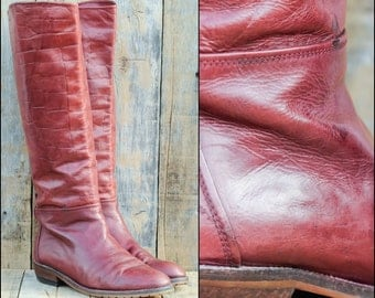 Leather Riding Boots, Us 10, Uk 8, Eu 41, Red Riding Boots, Womens Boots 10, Tall Leather Boots, Low Heel Boots, Tall Riding Boots,