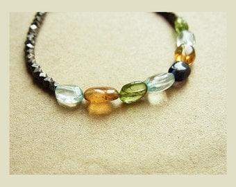 Multi Gemstone & Black Gold Bead Bracelet // Acqua Quartz + Citrine + Peridot + Iolite Nuggets // Organic Shape Gem Nuggets // Light Mix