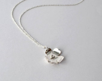 Handmade Silver Necklace, Fine Silver Flower Pendant Necklace, Handmade Metal Work Necklace with Sterling Chain, Artisan Jewelry Buffalo, NY