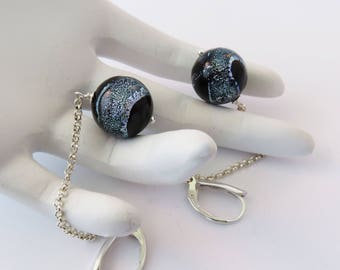 Long Black Murano Dichroic Glass Earrings with Silver Sparkles, Mother's Day Gift for Her, Evening Jewelry, Anytime Wear, Eye-Catching