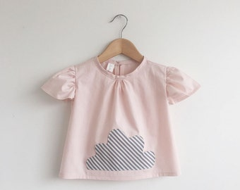 size 12-18 months only: girls cotton cloud pocket top