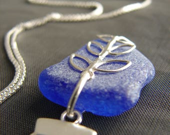 Sea Glass Necklace /  cobalt blue seaglass necklace / beach glass necklace / sea glass jewelry / beach glass jewellery / leaf necklace