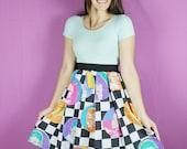 XL Beverly Hills 90210 Skirt, Vintage Skirt, 90s skirt, HANDMADE Skirt, womens 90210 skirt, vintage Beverly Hills skirt