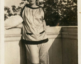 vintage photo 1920s Flapper era Teenage Girl Bow Lips Satin Pajamas Pillows