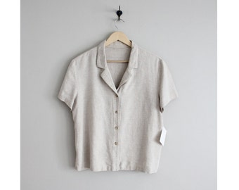 boxy collared linen blouse | neutral linen blouse | beige linen blouse