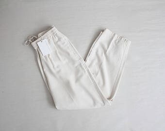 cropped silk trousers | slouchy white pants | drawstring trousers