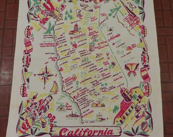 Vintage California souvenir map tablecloth 1950s Kitchen Linen Cotton Nevada Mexico Red Yellow