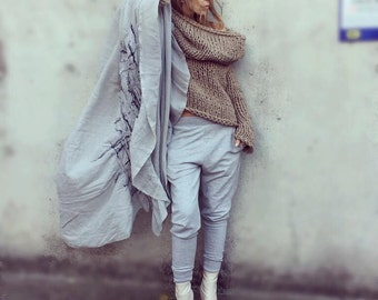 oversized Hooded beige sweater,  chunky, slouchy