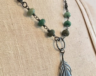 Sterling Silver and Chrysoprase Feather Necklace