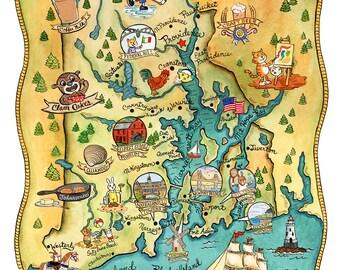 "Rhode Island State Map 8"" x 10"""