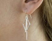 Modern Geometric Dangle Earrings - diamond shape, long lines