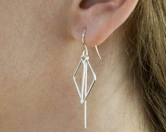 Modern Geometric Dangle Earrings - diamond shape, long lines