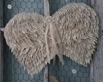 Vintage Book Page Feather Angel Wings for Wedding, Shower, Nursery, Engagment, Holidays, and Shabby Chic Home Decor