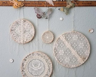 Sweet Dreams - Dream Catchers - Vintage Shabby Chic Lace for Gypsy, Boho Style Wedding and Home Decor
