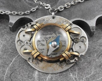 Steampunk Porthole Watch Compass Necklace  - Old World Explorer by COGnitive Creations