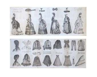 """Victorian Fashion Plate From 1870 Godey's Lady's Book Plate 23"""" x 9"""" Double Sided Women's Fashions Children's Fashions"""