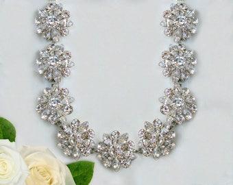 Wedding Necklace, Bridal Statement Necklace, Crystal silver, Wedding jewelry, Swarovski Bridal Necklace, Wedding statement jewelry