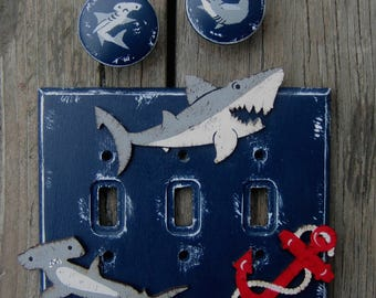 SHARK BITES Kids Switch Plate Cover - Original Hand Painted Wood Hale Navy - Any Size/Style
