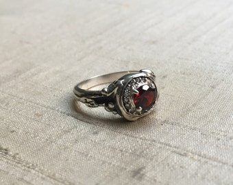 Garnet and White Sapphires- Woodland Vine Halo Ring in Sterling Silver