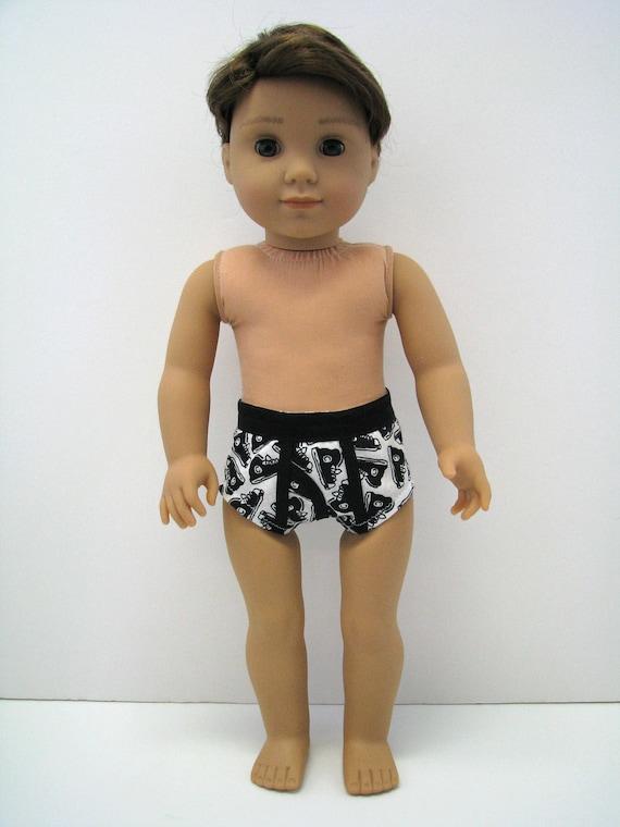 """Boy Doll Underwear - Boy Doll Clothes - 18 Inch Boy Doll Clothes - Black and White Shoe Print - 18 Inch Boy Doll Underwear - 18"""" Boy Doll"""