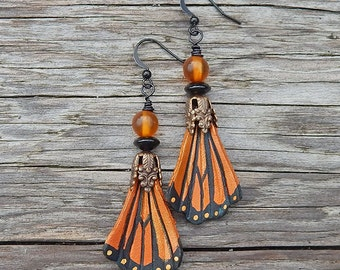 Butterfly Wing Leather Earrings - Shimmering Monarch Butterflies with Baltic Amber, Rainbow Obsidian and Brass Filigree