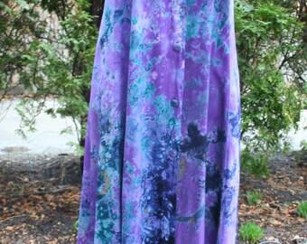 SALE was 32.00 Purple and blue rayon tie back sleeveless hippie boho dress Indonesia Rising Tide medium large
