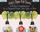 Zipper Charm Set - Nature - Bee, Red Flower, Butterfly
