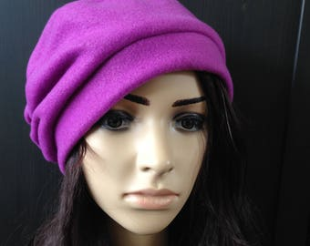 Fleece Hat Slouchy Beret Tam Purple Orchid Cold Weather Fashion