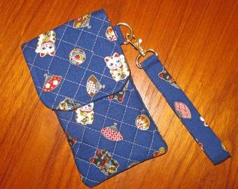iPhone 6, 7 PLUS Japanese Quilted Fabric Sleeve Maneki Neko Design with Wrist Strap Blue