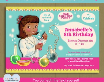 Science party invitation  INSTANT DOWNLOAD cute African American girl scientist birthday party printable invite with editable text PDF #P-54