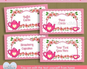 Tea party food Labels tent style buffet cards / INSTANT DOWNLOAD P-70  printable tea theme name place cards / You can edit text from home