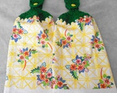 Crocheted Top Floral Pattern Kitchen Towel Set - Flower Granny Kitchen Towels - Floral Hand Towel Set