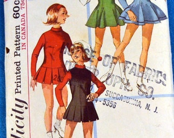 Simplicity 6203 Vintage Sewing Pattern Teens' Skating or Cheerleading Dress Size 14T Bust 34 Inches Complete