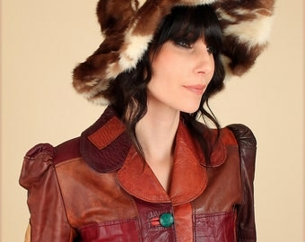ViNtAgE Floppy Fur Hat // Vintage Fur Mink Bucket Hat Winter Rock and Roll Hippie BoHo Glam