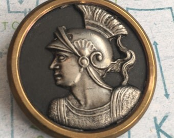 Hector Antique Brass Picture Button Mythology Trojan Warrior 1 1/2""