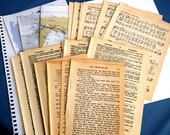 Vintage book pages, 41 pages, paper supplies, dictionary pages, music pages, maps, ephemera pack, art journals, collages, smash book sale