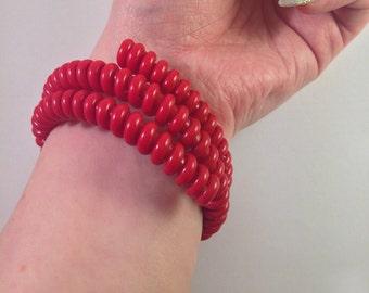 1940s red telephone cord bangle bracelet dead stock