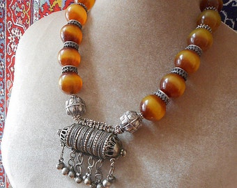 Desert Caravan necklace. Yemen silver and vintage resin beads, silver  prayer amulet
