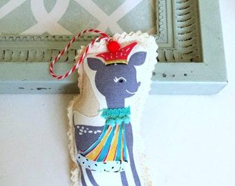 Xmas fabric deer reindeer ornament, appliqued reindeer, Christmas holly reindeer ornament,  fabric scrap ornament, whimsical deer, No. 79