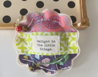 fabric scrap modern patchwork lavender sachet ornament, flower shape applique delight in the little things little pillow sachet - No. 71