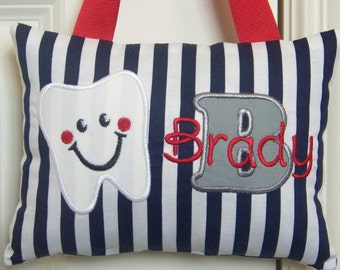 Tooth Fairy Pillow - Navy Blue and White Stripes