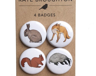woodland animal pinback button badges (set of four) wildlife nature pins - rabbit , fox , badger , squirrel