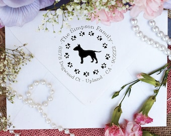 Bull Terrier Dog Stamp, Bull Terrier Lover Custom Return Address Stamp, Cute Stamp for Bull Terrier Lover, Dog Stamp --10344-PI53-000