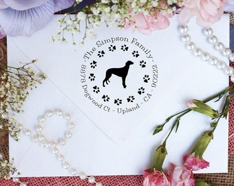 Grey Hound Dog Stamp, Grey Hound Lover Self Inking Custom Return Address Stamp, Cute Stamp for Grey Hound Lover, Dog Stamp --10353-PI53-000
