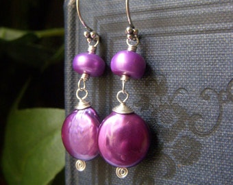 Magenta Pearl Earrings, Freshwater Pearl Sterling Silver Earrings, Magenta Purple Coin Pearl Dangle Earrings, Wirewrapped Sterling Earrings
