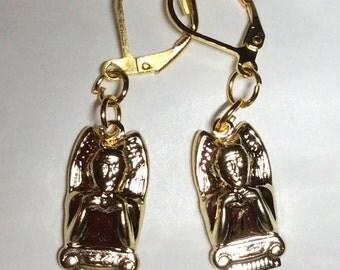 Gargoyle devil evil demon gothic cathedral church gold tone handmade earrings for pierced ears