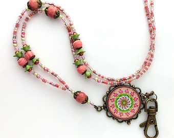 Beaded ID Badge Lanyard - Warm Pink and Green Mandala Design with Antiqued Brass Pendant