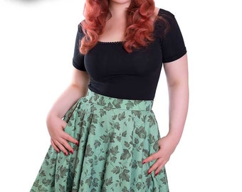 Swing Skirt with Pockets Green Leaves - BETTY_S03