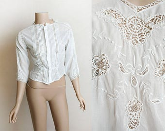 Vintage Edwardian Blouse - Emboirdered Floral Sheer Cotton Blouse Top - Mid Length Sleeve - Button Up - Small